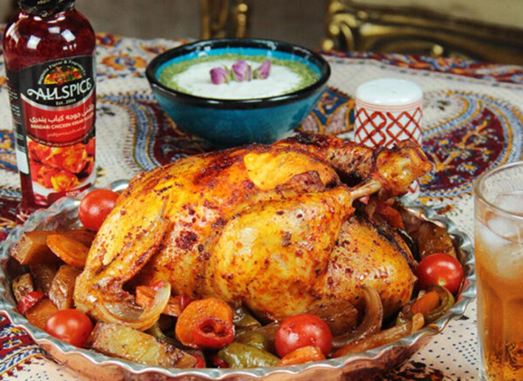 طرز تهیه مرغ شکم پر با چاشنی آلس پایس